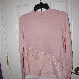 Nice pink layered lace long sleeve